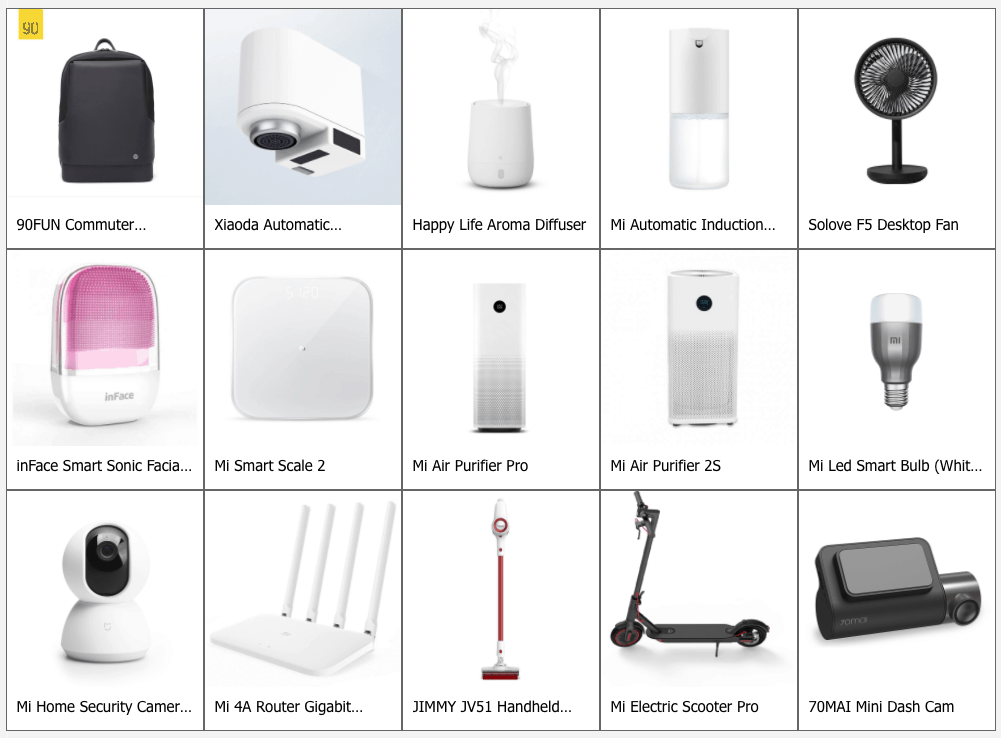 xiaomi-products list